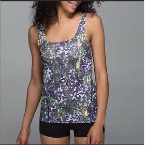Lululemon Amala Green and Purple Floral Tank Top